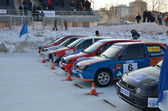 Cars at the start of competition on the ice track — Stock Photo
