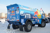Truck for the rally-raid team KAMAZ MASTER, shot from behindt — Stock Photo