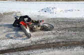Crash motorcycle rider motocross — Stock Photo