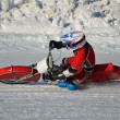Stock Photo: Speedway on ice, turn on a motorcycle