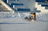 Speedway on ice, turn on a motorcycle — Stock Photo