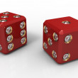 Two red dice — Stock Photo