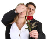 A couple with a rose — Stock Photo