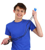 A guy wearing a blue shirt with a skipping rope — Stok fotoğraf