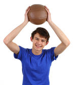 A guy with a training ball — Stock Photo