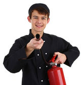 Chef fire fighter — Stock Photo