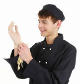 Chef with gloves — Stock Photo