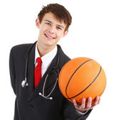Doctor with a basketball — Stock Photo