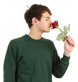 Gardener with a rose — Stock Photo