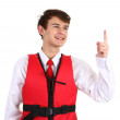 Royalty-Free Stock Photo: An air stewardess with a life jacket