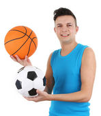 Guy with a basketball and a football — Foto Stock