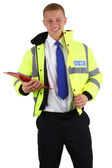 Security guard with a clipboard — Stock Photo