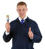 Guy with a paintbrush — Stock Photo