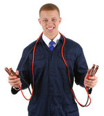 Guy with cables — Stock Photo