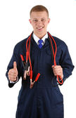 Thumbs up guy with cables — Stock Photo
