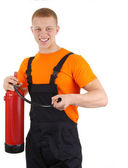 Guy with a fire extinguisher — Stock Photo