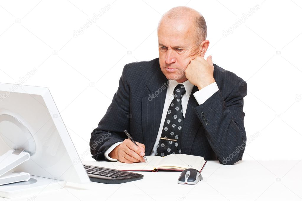 Studio picture of pensive businessman with computer. isolated n white — Stock Photo #10130855