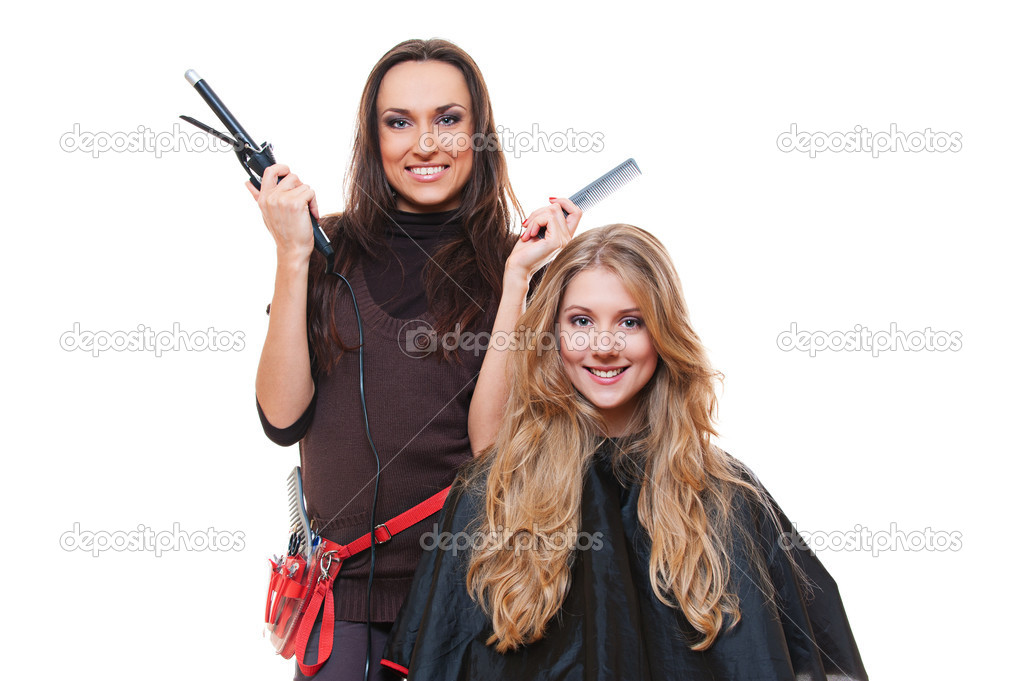 Studio shot of hairdresser and blonde woman. isolated on white  Stock Photo #10476707