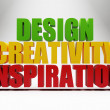 3d words design creativity inspiration over grey — Foto Stock