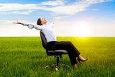 Glad affärskvinna — Stockfoto
