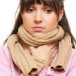 Woman in scarf have a flu — Foto de Stock