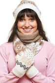Glad woman in hat and scarf — Stock Photo