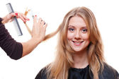 Smiley model in hairdressing salon — Foto Stock