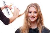 Smiley model in hairdressing salon — Stock Photo