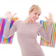 Happy blonde with shopping bags — Stock Photo #9149151