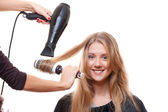 Hairdresser blow dry hair — Stock Photo