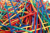 Messy arragement of plastic straws — Stock Photo