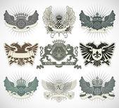 Set of heraldic symbols — Stock Vector