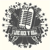 Symbol I love a rock'n'roll — Stock Vector