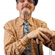 The old man with walking stick — Stock Photo