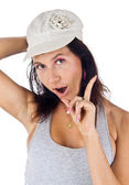 Latin American female shake one's finger — Foto Stock