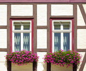 Windows with flower boxes at old frame-work house — Stock Photo