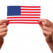 American flag and woman hands — Stock Photo