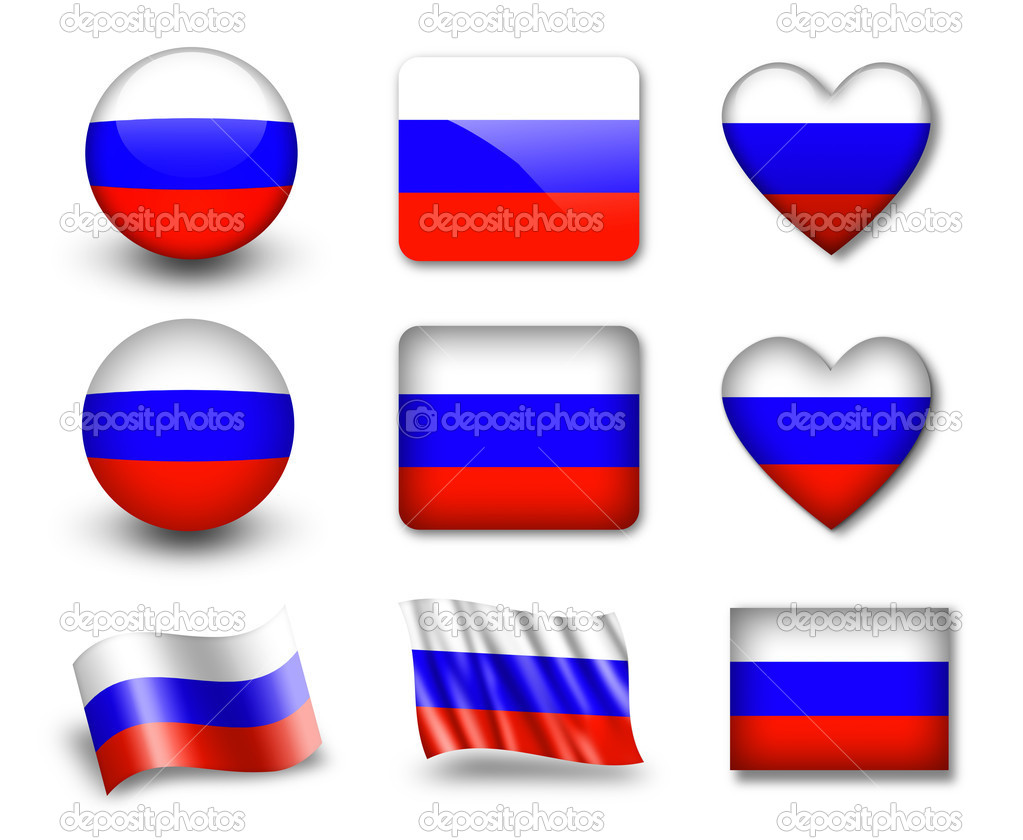The Russian flag - set of icons and flags. glossy and matte on a white background. — Stock Photo #8959376