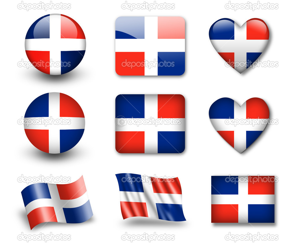 The Dominican Republic flag - set of icons and flags. glossy and matte on a white background. — Stock Photo #8969271