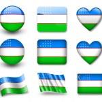 The Uzbek flag — Stock Photo