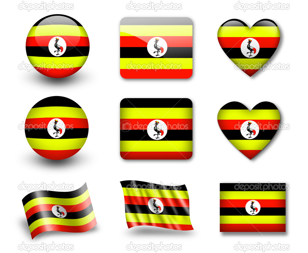 The Uganda flag - set of icons and flags. glossy and matte on a white background.  Stock Photo #9020233