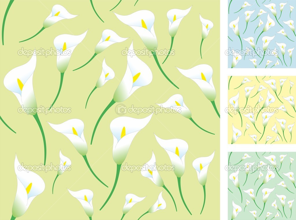 Set of seamless backgrounds with calla flower — Stock Vector #10442569