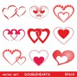Double hearts set — Stock Vector