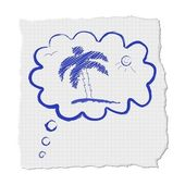 Cloud palm and beach — Stock Vector