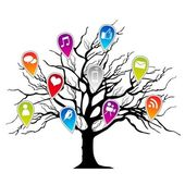 Tree with social media icons — Stock Vector