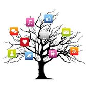 Social media tree — Stock Vector