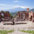 Antique greek theater in Taormina, Sicily — Stok Fotoğraf #10482758
