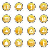 Orange Icons Sights — Stock Vector