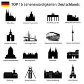 Illustration - Top 16 germany architecture — Stock Vector
