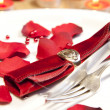 Place setting for valentines day — Stock Photo